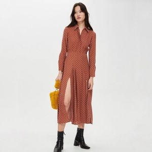 c656d7d88ea7 ... NWT Topshop Midi Pleated Shirt Dress in Rust ASOS ...